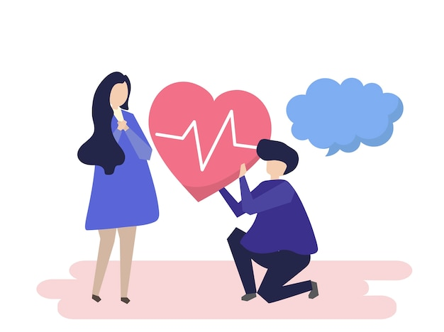 Парень держит сердцебиение для иллюстрации женщины