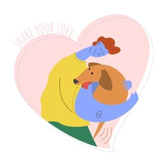 Парень обнимает собаку принять концепцию домашнего животного