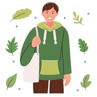 Парень в современном зеленом свитере с эко-сумкой Premium векторы