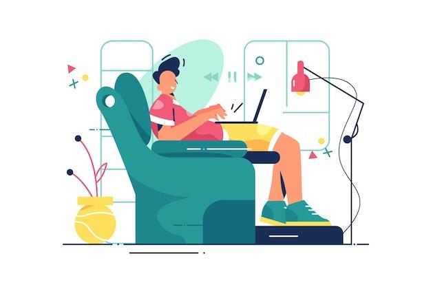 Парень в удобном кресле иллюстрации