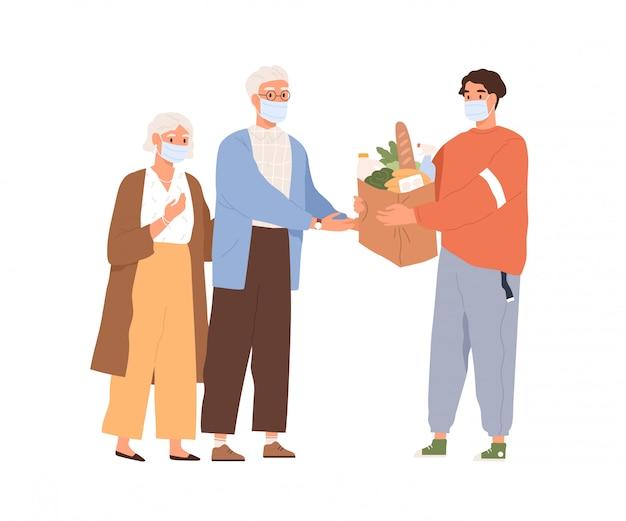 高齢者の男性と女性のフラットの図に食物と一緒にパッケージを与える医療マスクの男。