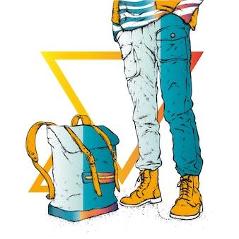 Парень в стильной одежде и рюкзаке