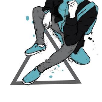 세련된 옷과 스케이트 보드를 입은 남자