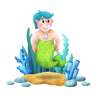 Парень - русалка с голубыми волосами. композиция с акварельными иллюстрациями в мультяшном стиле.