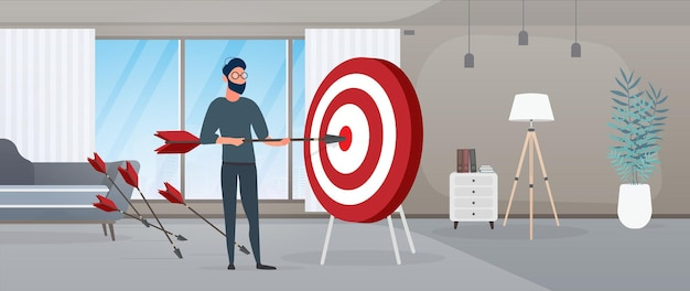 The guy is holding an arrow. the arrow hits the target. the concept of successful business, teamwork and achieving goals. vector.