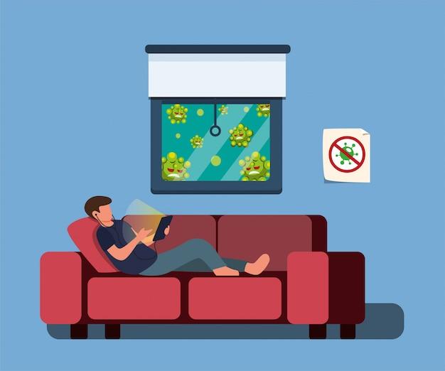 スマートフォンのテーブルを再生するソファの上に敷設する男、家にいる、または漫画のフラットイラストでコロナウイルス感染から保護するために自己検疫