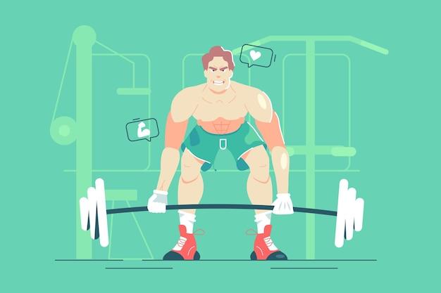 남자 체육관 그림에서 무거운 바벨을 리프트.
