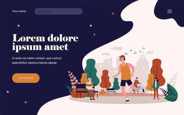 Guy listening to music and jogging in park. running man wearing earphones flat vector illustration. activity, sport, lifestyle concept for banner, website design or landing web page