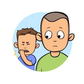 Парень смотрит на кашляющего мужчину рядом. значок дизайна мультфильма. красочная плоская иллюстрация. изолированные на белом фоне.