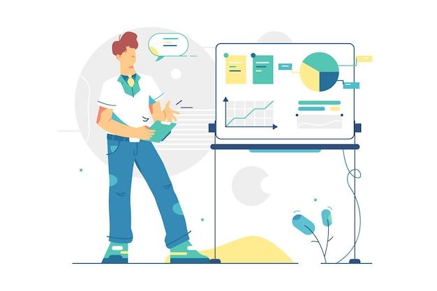 데이터 정보 일러스트와 함께 보드 근처 남자. 회사 노동자 현재 연간 재무 보고서 플랫 스타일. 비즈니스 성장, 목표, 경력 성공.