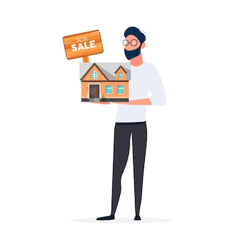 The guy offers to buy a house. selling a home or real estate. for sale sign. vector.