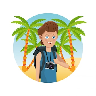 Guy photo camera backpack palm sand beach
