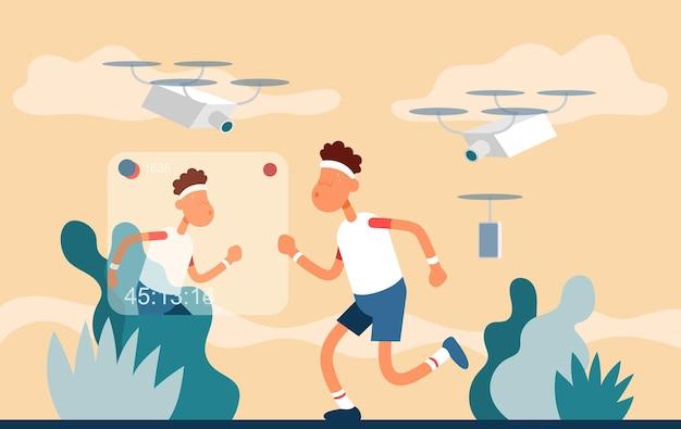 Парень снимает процесс занятий спортом на улице цветной векторный плоский мультяшный значок спортивный блоггер