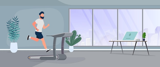 The guy runs on a treadmill. a man is jogging on a simulator. the concept of sport and healthy lifestyle. vector.