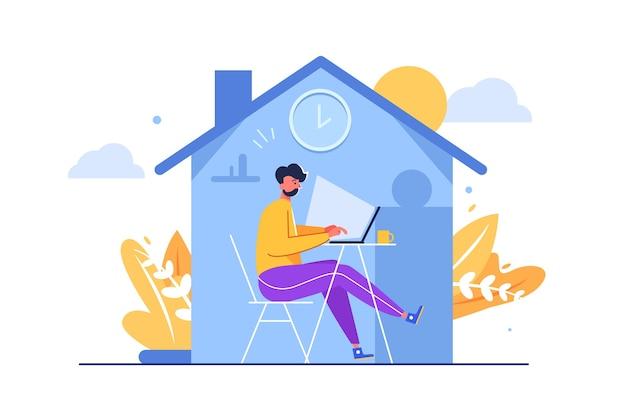 코로나 바이러스, 흰색 배경에 고립 된 전염병으로부터 보호 집에서 노트북 테이블에 앉아 남자, 평면