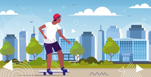 Guy skater performing tricks on city street skateboarding concept male african american teenager having fun riding skateboard full length horizontal cityscape background sketch vector illustration