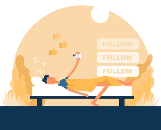 Guy sleeps and holds a camera in his hand. color vector flat cartoon icon. concept for blogger.