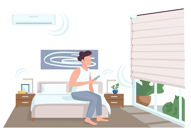 Guy in smart bedroom flat color faceless character. young man with smartphone controlling jalousie. domestic life innovations isolated cartoon illustration for web graphic design and animation
