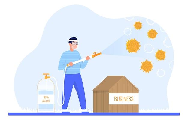 ガイは消毒剤微生物の流行コロナウイルス検疫をスプレーしますcovid19から防御するビジネス