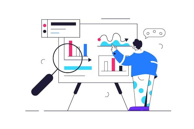 그래프와 데이터, 큰 돋보기로 큰 보드에서 데이터를 공부하는 사람