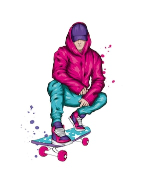 Guy in stylish clothes and skateboard