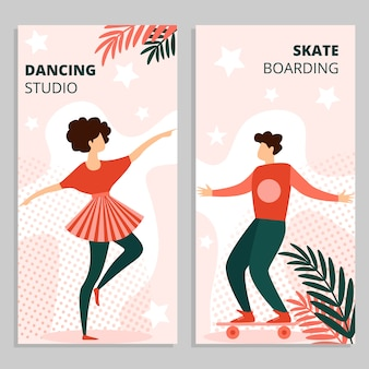 Guy in summer clothe riding skateboard woman dance