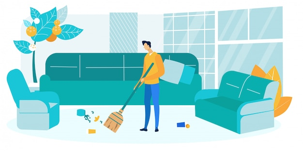 Guy sweeping living room