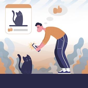 가이는 고양이 사진을 찍어 공개한다. 색 벡터 평면 만화 아이콘입니다. 블로거에 대한 개념입니다.