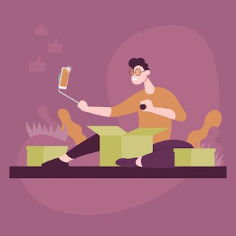 Guy unpacks packages and shoots video on phone. color vector flat cartoon icon. concept for blogger.