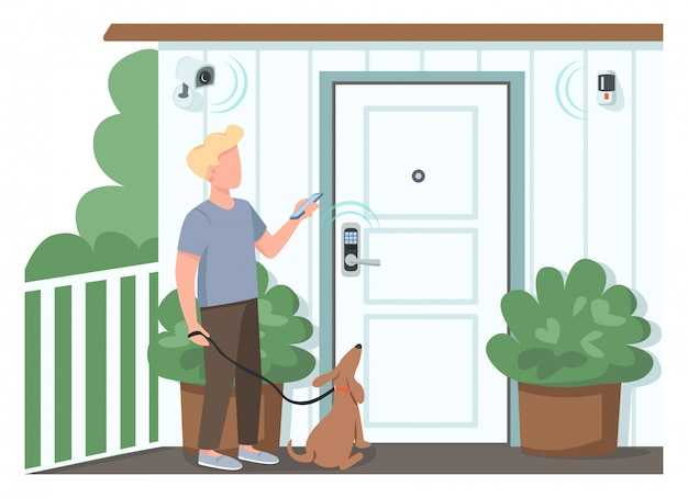 Guy using smart home security flat color faceless character. man controlling automated locks and surveillance cameras. iot isolated cartoon illustration for web graphic design and animation