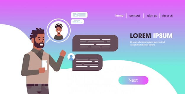 Guy using smartphone social network chat bubble communication concept