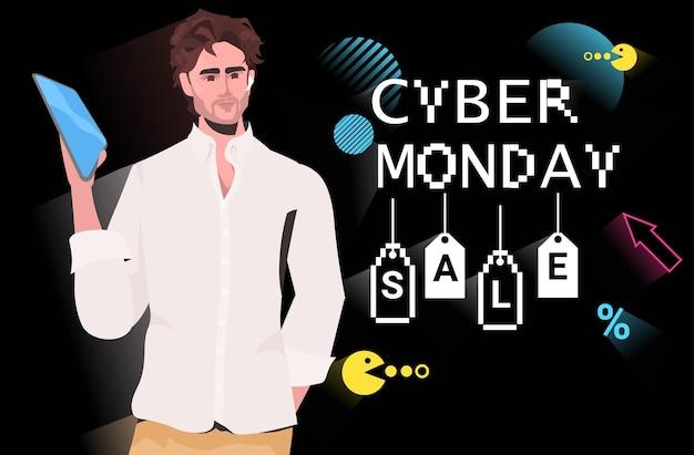 Парень с помощью планшетного пк киберпонедельник интернет-продажа плакат рекламный флаер праздничный шоппинг продвижение 8-битный пиксель арт стиль баннер горизонтальная векторная иллюстрация