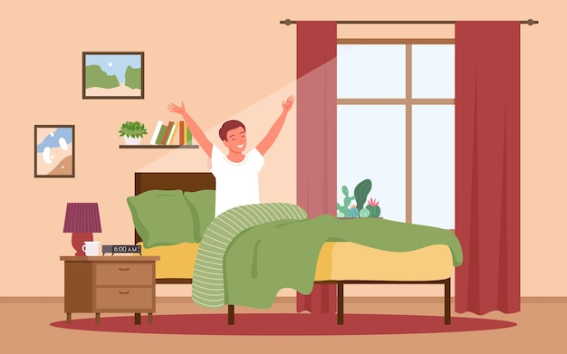 Guy waking up in sunrise early morning after night rest vector illustration. cartoon boy character awaking in sun, happy young man sitting in bed near window in home bedroom interior background