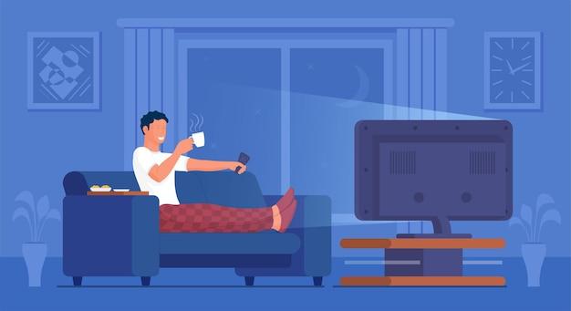 男はリラックスできる快適なソファでテレビを見ます。男は、居間で映画映画、メディア放送ニュースまたはビデオショーを見て屋内でリラックスしますベクトルイラスト