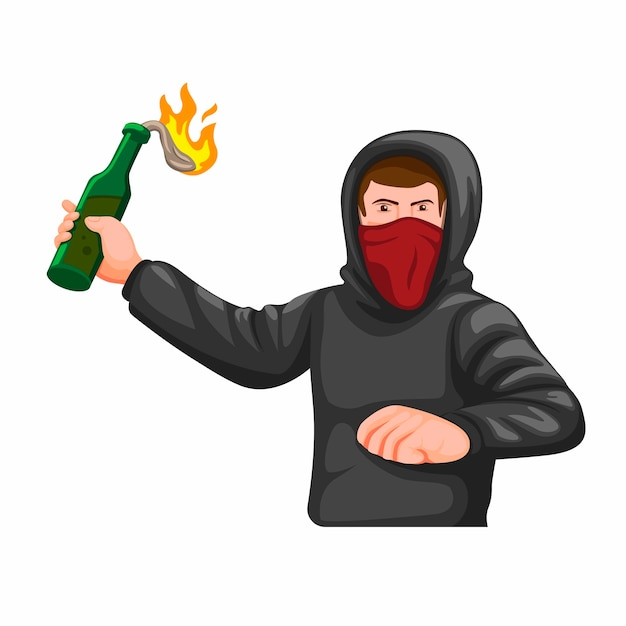 Guy wear hoodie and mask throwing molotov coctail pose figure, hooligan anarchy symbol concept cartoon illustration   isolated in white background