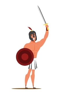 Guy wearing ancient clothes holding sword and shield. Premium Vector
