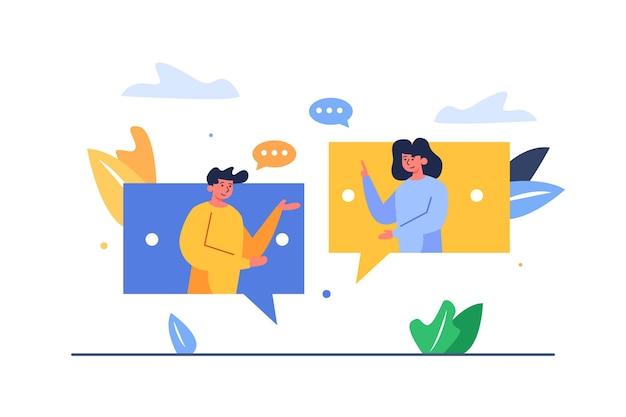 Парень с девушкой переписываются друг с другом через большие сообщения, изолированные на белом фоне
