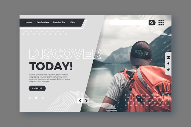 Guy with backpack travelling landing page