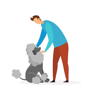 Guy with french poodle flat vector illustration