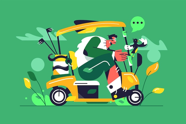 Guy with glasses rides a big golf car, boxes of golf clubs, bird holds on to handrail isolated on green background, flat  illustration