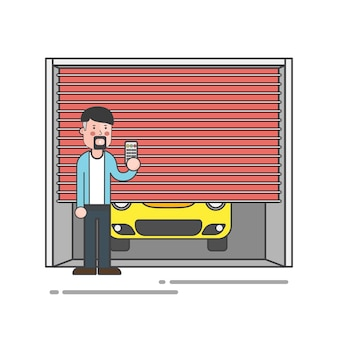Guy with a goatee holding the garage door remote vector