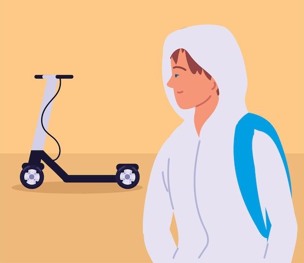 Парень с электрическим самокатом