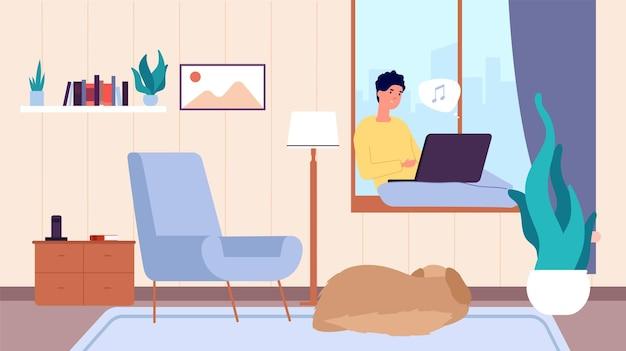 ラップトップを持つ男。居間で休んでいる人、人と犬。