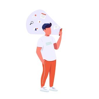 스마트 폰 플랫 컬러 익명의 캐릭터를 가진 남자. z 세대 라이프 스타일, 온라인 커뮤니케이션. 웹 그래픽 디자인 및 애니메이션에 대한 hipster 서핑 인터넷 격리 된 만화 그림