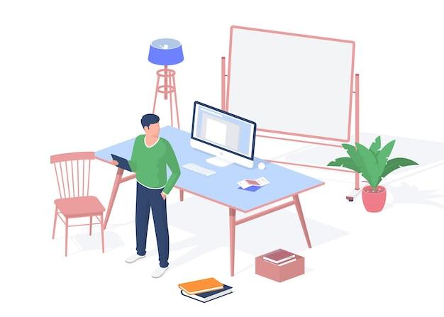 현대 교실에서 태블릿을 가진 남자. 데스크탑 모노블록 컴퓨터와 흩어져 있는 더미 책 바닥. 백라이트가 있는 빈 화이트보드입니다. 쾌적한 학습을 위한 인테리어. 벡터 현실적인 아이소메트리