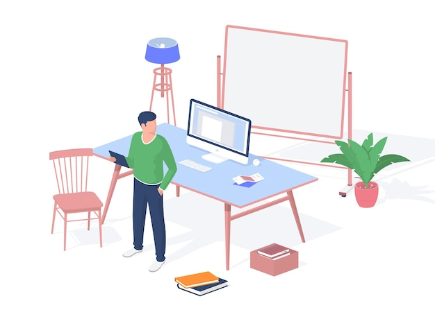 Guy with tablet in modern classroom. desktop monoblock computer and scattered piles books floor. blank whiteboard with backlight. interior for comfortable learning. vector realistic isometry