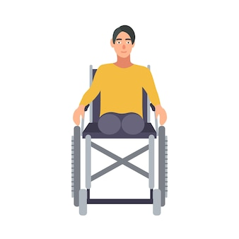 Guy without legs sitting in wheelchair isolated on white background. young amputee or disabled person. smiling male character with physical impairment or disability. flat cartoon vector illustration.