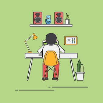 Guy working at his desk vector Free Vector
