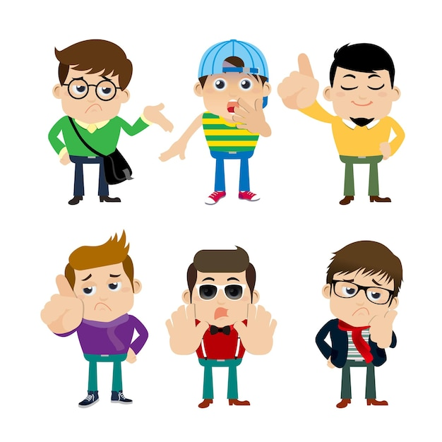 Guys in different poses