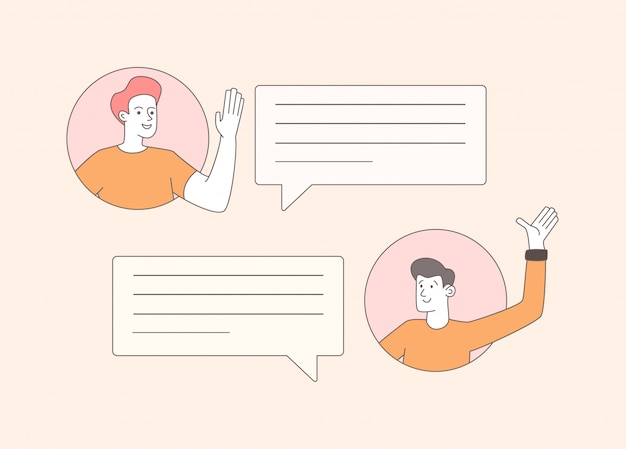 Guys exchanging messages outline illustration. cheerful young men waving hands cartoon characters. happy people and empty speech bubbles composition, communication concept design element